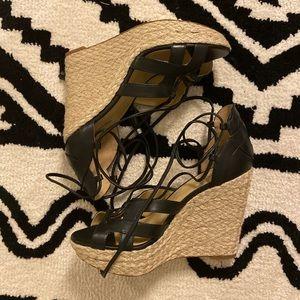 [Michael Kors] Wedge Black Leather Sandal